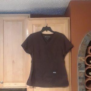 Grey's Anatomy Brown Short Sleeve Scrub Top